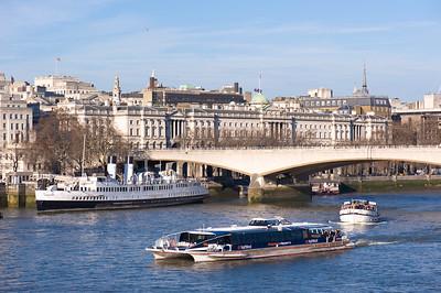 Thames River and Waterloo Bridge, London, United Kingdom
