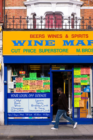 Discounted alcohol in Off Licence shop on Uxbridge Road, Shepherds Bush, W12, London, United Kingdom