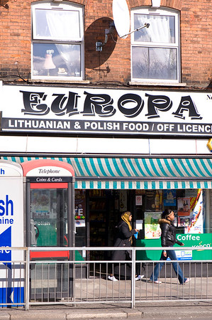 Shop on Uxbridge Road selling Polish and Lithuanian food products, Ealing Common, W5, London, United Kingdom