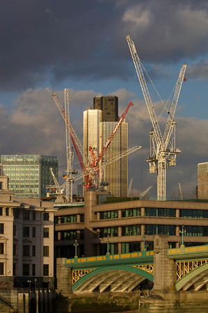 Cranes in the city of London, London, United Kingdom