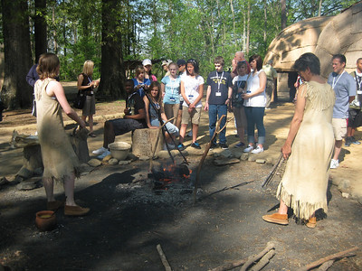 Touring Jamestown and a recreation of a Powhatan Indian village.