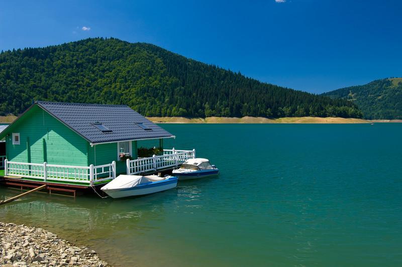 Floating holiday house on Bicaz Lake, Moldavia, Romania
