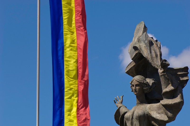 Romanian flag by Independence Monument, Iasi, Moldavia, Romania