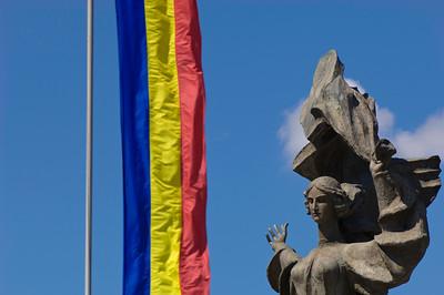 Romanian flag by Independence Monument, Iasi, Moldavia, Romania