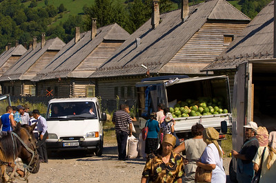Market in a village near Bicaz, Moldavia, Romania