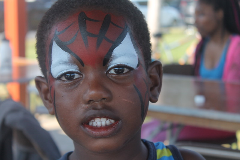 Kristi Garabrandt - The News-Herald<br /> Rashadd Barbee, 4, Euclid shows off the  Spiderman  face painting he had done at Euclid's National Night Out.