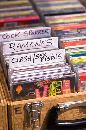 Secondhand record stall in market by Camden Lock, Camden Town, London, United Kingdom
