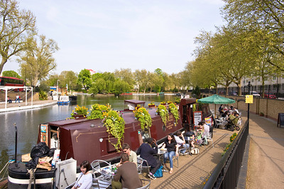 Cafe bar on boat in Little Venice, W9,  London, United Kingdom