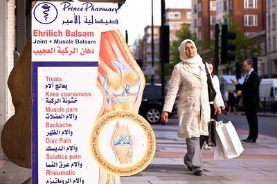 Pharmacy promoting traditional methods, Edgware Road, W2, London, United Kingdom