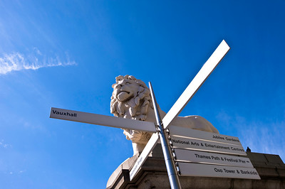 The Southbank Lion on Westminster Bridge, London, United Kingdom