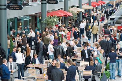 Busy bars and restaurants in St. Katharine Docks, London, United Kingdom