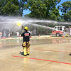 Carol Harper — The Morning Journal <br> It's a blast at Kids Water Fights Aug. 5, 2017, at Amherst Fire Department at 414 Church St. in Amherst.