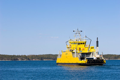 Ferry connecting islands in Turunmaa Archipelago, Baltic Sea, Finland