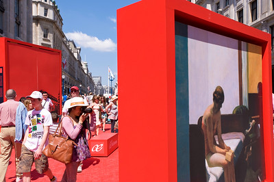 "People enjoy festival ""Taste of Spain"" on Regent Street, W1, London, United Kingdom"