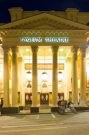 Front facade of Lyceum Theatre at night, London, United Kingdom