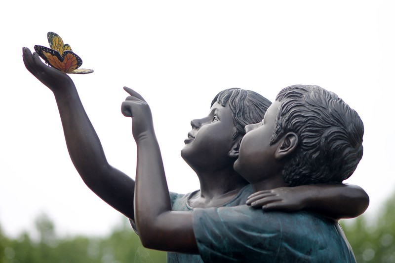 Kristi Garabrandt - The News-Herald<br /> The butterflies stolen from the Childrens'  Memorial Garden in Willowick's  Manry Park have been replaced with the help of donations from residents