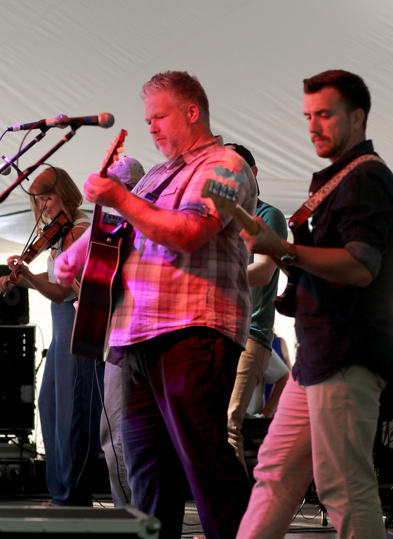 . Jonathan Tressler � The News Herald <br> Members of Mary�s Lane start off their set about 7:30 p.m. Aug. 10 on the Murphy�s Irish Stout Stage during opening day of the 2018 Ohio Celtic Festival at the Lake County Fairgrounds in Painesville Township. The three-day event runs through 8:30 p.m. Aug. 12.