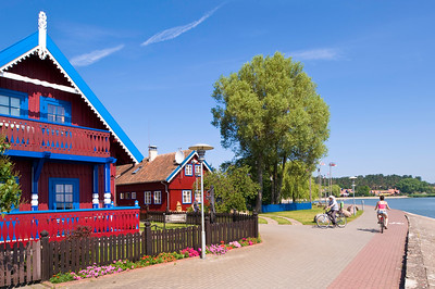 Typical wooden houses overlooking bay, Nida village, Neringa, Lithuania