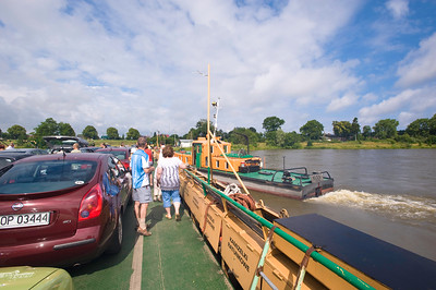 Car ferry across Vistula River near Elblag, Poland