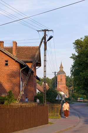 Typical street view of village in Warmia, Poland