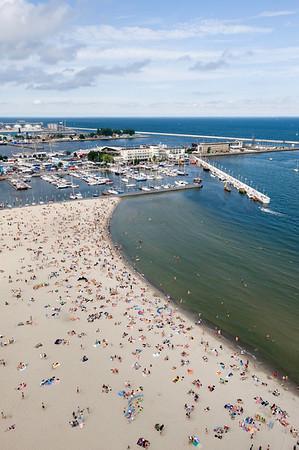 Aerial view of beach, Baltic Sea, Gdynia, Poland