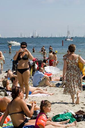 Crowded beach with people, Baltic Sea, Gdynia, Poland