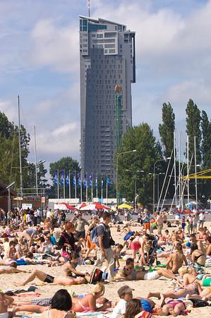 Newly built modern apartment building Sea Towers overlooking sandy beach, Gdynia, Poland