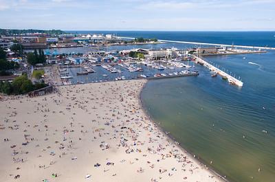 Aerial view of the beach and marina, Baltic Sea, Gdynia, Poland
