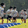 Genoa-Kingston football players run drills during practice on Monday at Walcamp Retreat in Kingston.  Steve Bittinger - For Shaw Media.