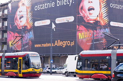 Advertising billboards in town centre, Lodz, Poland