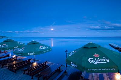 Bar overlooking Puck Bay evening Hel Peninsula, Baltic Sea, Poland