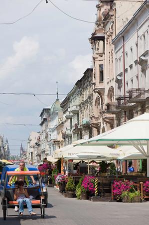 Bars and restaurants on Piotrkowska Street, Lodz, Poland