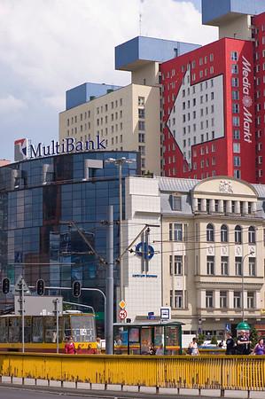 Contemporary architecture in town centre, Lodz, Poland