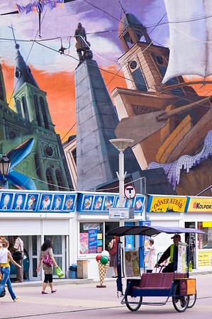 Mural on a wall by Piotrkowska Street, Lodz, Poland