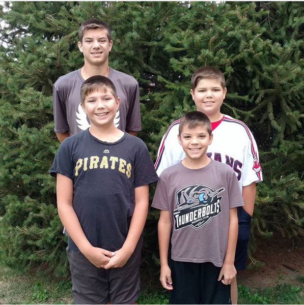 . These boys are ready for back to school! (Back row) John heads to North, James heads to Willowick Middle, (front row) Patrick and Tommy head to Royalview Elementary. (Submitted)