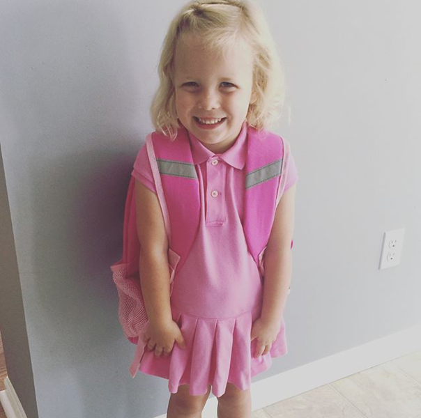 . Amelia is pretty in pink for her first day of preschool at Greenwood Early Learning Center. (Submitted)