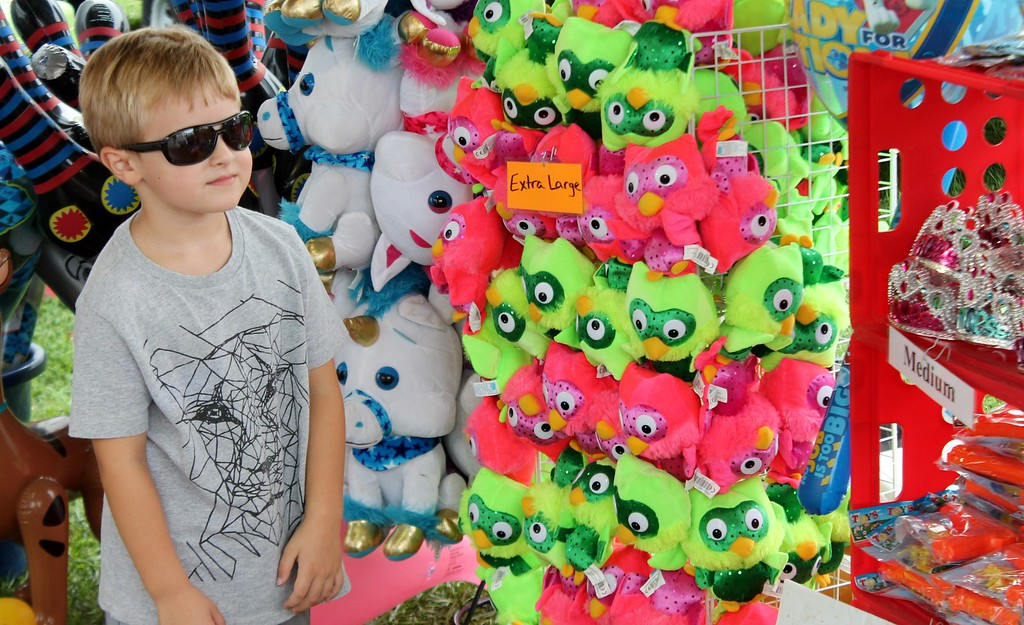. Kristi Garabrandt � The News-Herald <br> Noah Wainio, 5, of Eastlake can\'t decide which prize to pick for his duck pond win.�