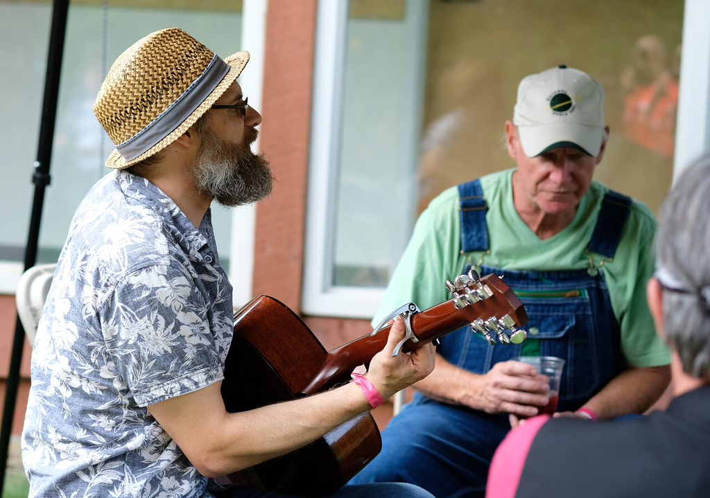 . Submitted <br> Musicians jam out at the Blue Sky Folk Festival in 2017.