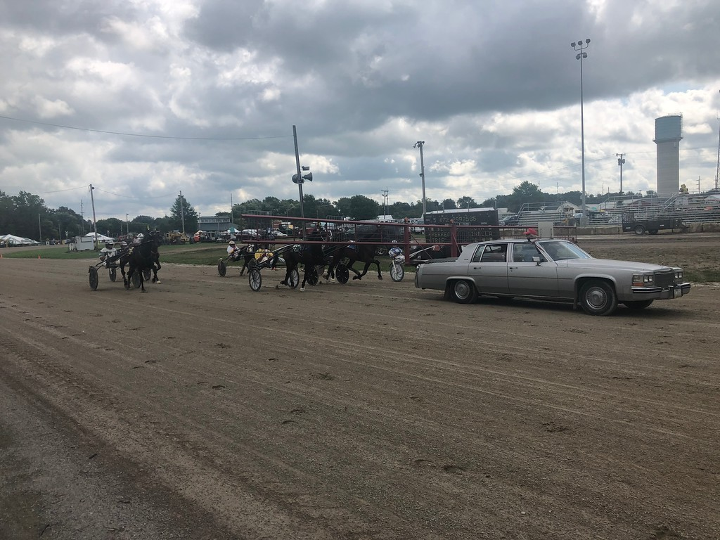 . Briana Contreras � The Morning Journal <br> A car leads the horses during the Harness Race at the Lorain County Fair on Aug. 21 at the Fairgrounds in Wellington.