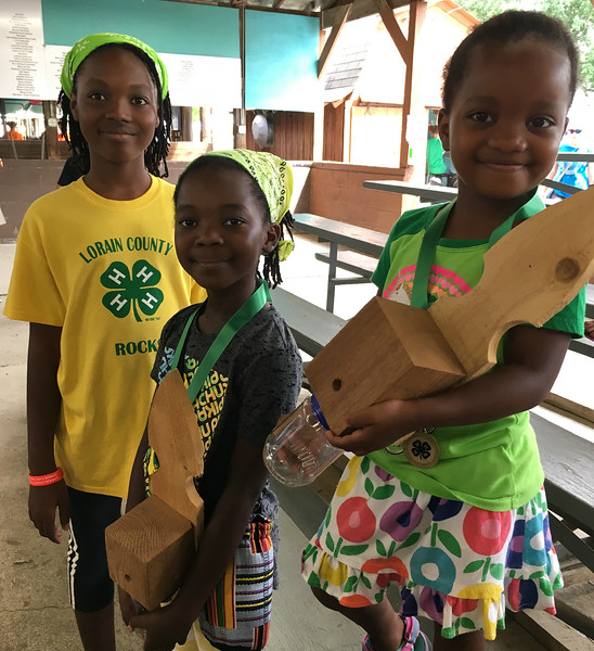 Richard Payerchin — The Morning Journal <br> Sisters Hana Odjidja, 12, Frida Odjidja, 8, and Leila Odjidja, 4, of Elyria, pose for a photo with the carpenter bee traps that Frida and Leila made for the Cloverbud Show and Tell at the Lorain County Fair on Aug. 18, 2018.