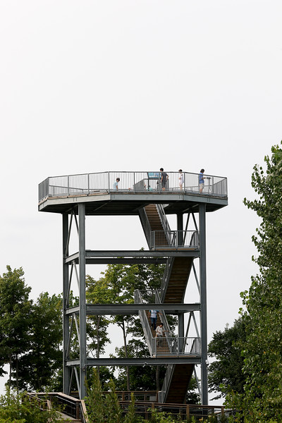 Jonathan Tressler - The News-Herald. Visitors to Lake Metroparks' Lake Erie Bluffs park enjoy view from its 50-foot observation tower during the Best of the Bluffs event Aug. 19.