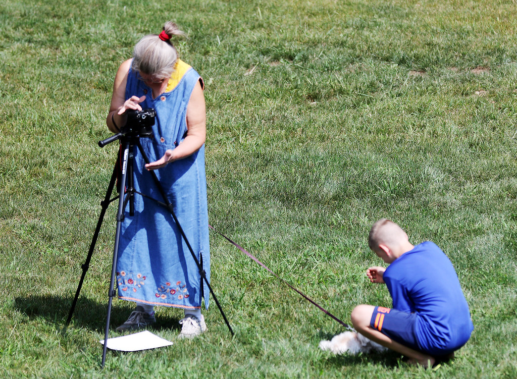 . Jonathan Tressler - The News-Herald <br>  Dianne Orr, left, works to capture video of the Aug. 21 solar eclipse while a young passerby plays with Sally, her friendly morkie (Maltese/Yorkie mix) pup, at Observatory Park in Montville Township.