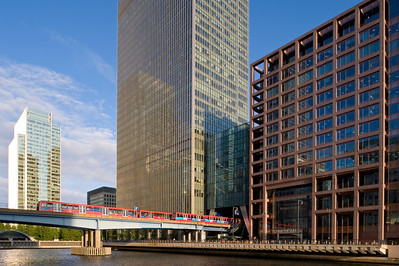DLR passing across West India Docks, Docklands, E14, London, United Kingdom