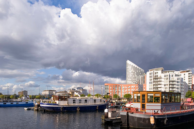Houseboats in Blackwall Basin, Docklands, E14, London, United Kingdom