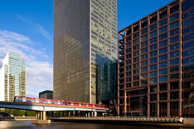 DLR passing across West India Docks, Docklands, E14, London, United Kingdom