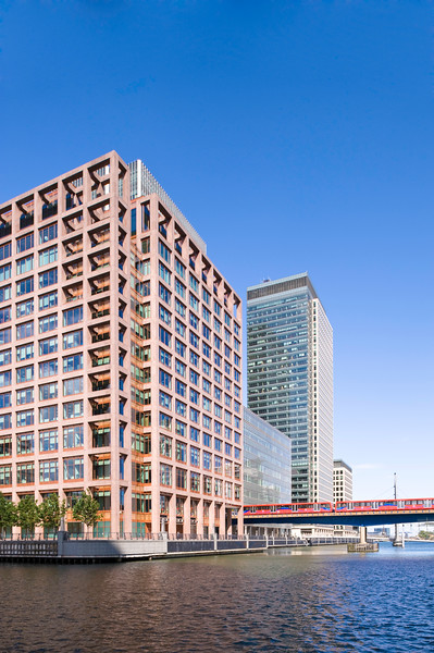 Modern architecture in Heron Quays, Docklands, E14, London, United Kingdom