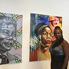 Kevin Martin - The Morning Journal <br> Sharon Pye-Brown, of Lorain, is a featured artist and daughter of James F. Pye. Here she poses with artwork at LCCC's Stocker Arts Center.
