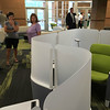 Carol Harper — The Morning Journal <br> Individual seating offers a lamp, table, area for a book bag, comfortable seat, and a barrier to muffle sound in a Creative Learning Center at Steele High School in Amherst.