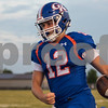 Sam Buckner for Shaw Media.<br /> Griffen Hansen runs out of bounds after intercepting a pass from Rockford Luthern on Friday August 25, 2017.