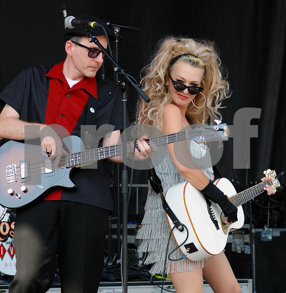 The retro band Rosie and the Rivets entertain at the DeKalb Corn Fest main stage on Saturday afternoon.<br /> Steve Bittinger - For Shaw Media